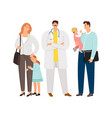 family doctor characters icons vector image