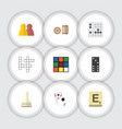 flat icon games set of guess mahjong pawn and vector image vector image