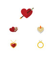 flat icon heart set of fire wax engagement vector image vector image