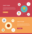 flat icons volleyball rocket ball and other vector image