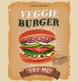 grunge and vintage vegetarian burger poster vector image vector image