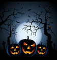 halloween night background with pumpkins and vector image