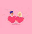 happy smiling couple holding heart symbols as vector image