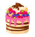 icon cartoon sweet cake with strawberries vector image vector image