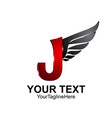 initial letter j logo template colored black red vector image