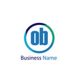 initial letter ob logo template design vector image