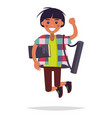 jumping student with book and tube vector image vector image