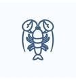 Lobster sketch icon vector image vector image