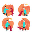 man with dog in flat style vector image vector image