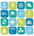 marine icons in squares vector image vector image