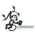 monkey with beer logo vector image