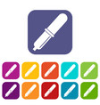 pipette icons set flat vector image