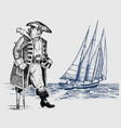 pirate or captain man on ship traveling through vector image