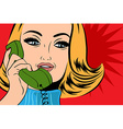 pop art cute retro woman in comics style talking vector image