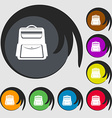 School Backpack icon Symbols on eight colored vector image vector image
