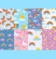 seamless cute rainbow pattern sky with rainbows vector image
