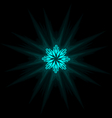Self-illuminated cyan snowflake isolated on black vector image vector image