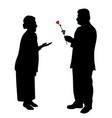 senior man giving red rose to woman or wife vector image vector image