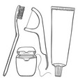 set black sketch tooth brushing items tooth vector image vector image