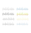 Set of different analog and digital signal waves vector image