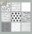 set of nine hand drawn seamless abstract patterns vector image