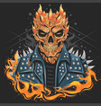 skull punk head with jacket for band cover or bik vector image vector image