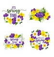 spring flowers bunches and bouquets icons vector image vector image