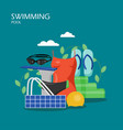 swimming pool flat style design vector image