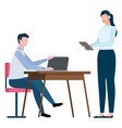 woman and man working at office secretary teamwork vector image vector image
