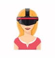 Woman avatar in virtual reality glasses vector image vector image