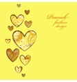 Yellow painted peacock feathers hearts design vector image vector image