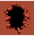 Exploding out hole in red brick wall vector image