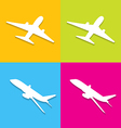 Aircraft symbols isolated on colorful background vector image
