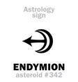 astrology asteroid endymion vector image vector image