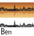 Bern skyline in orange background vector image
