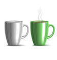 blank mug mockup and green mug with tea in vector image