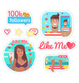 blogger woman and man on vacation stickers vector image vector image