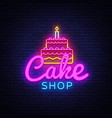 cake shop neon sign sweets shop design vector image