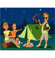 Campers at night vector image vector image
