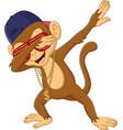 cartoon dabbing monkey on white background vector image vector image