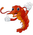 cartoon lobster in gloves gives thumb up vector image