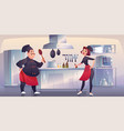 chef and sous chef on kitchen restaurant staff vector image vector image
