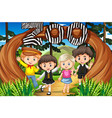 children at zoo entrance vector image vector image