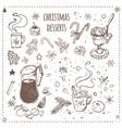 christmas food and desserts set hand drawn icons vector image vector image