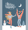 christmas greeting card - man and woman vector image