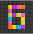 colorful brick block number six flat design vector image