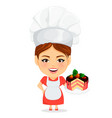 cook woman female master chef funny cartoon vector image vector image