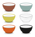 cups or bowl of different cly types vector image vector image