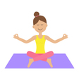 Cute cartoon woman character sitting in lotus pose vector image vector image