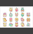 Cute colorful cloth patches set embroidery